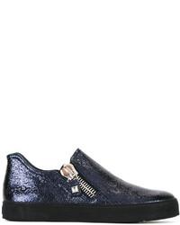Zapatillas de cuero azul marino de Stuart Weitzman
