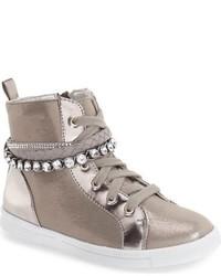 Zapatillas de cuero con adornos grises de Stuart Weitzman