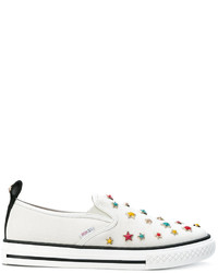 Zapatillas de cuero de estrellas blancas de RED Valentino