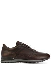 Zapatillas de cuero en marrón oscuro de Canali