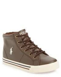 Zapatillas de cuero en marrón oscuro de Ralph Lauren