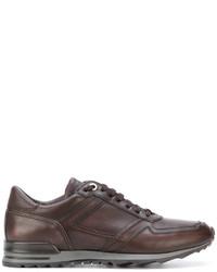 Zapatillas de cuero marrónes de Canali