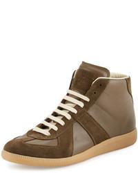 Zapatillas de cuero marrónes de Maison Margiela