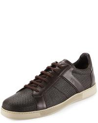 Zapatillas de cuero tejidas en marrón oscuro de Ermenegildo Zegna