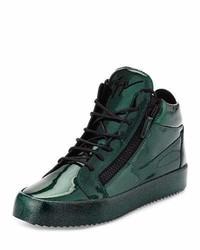 Zapatillas de cuero verde oscuro de Giuseppe Zanotti