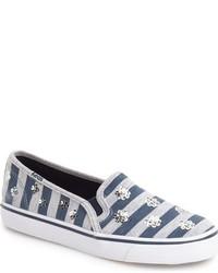 Zapatillas de lentejuelas de rayas horizontales azul marino de Keds