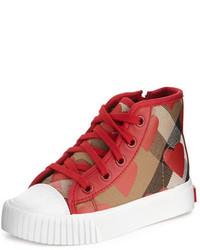 Zapatillas de tartán rojas de Burberry