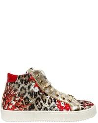 Zapatillas estampadas rojas de Roberto Cavalli