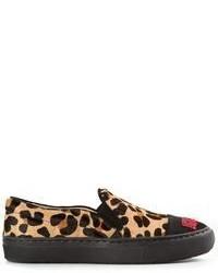 Zapatillas slip-on de ante de leopardo marrón claro de Markus Lupfer