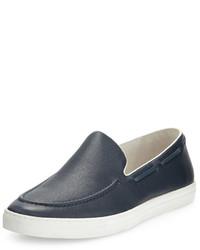 Zapatillas slip-on de cuero azul marino