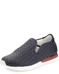 Zapatillas slip-on de cuero azul marino de Bottega Veneta