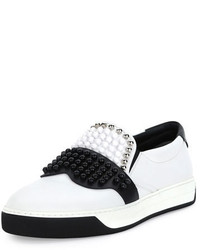 Zapatillas slip-on de cuero blancas de Fendi