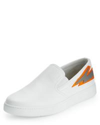 Zapatillas slip-on de cuero blancas de Prada