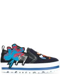 Zapatillas slip-on de cuero bordadas azul marino de MSGM
