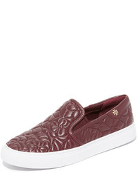 Zapatillas slip-on de cuero burdeos de Tory Burch