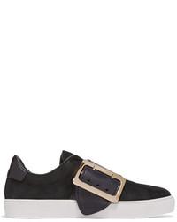 Zapatillas slip-on de cuero con adornos negras de Burberry