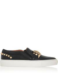 Zapatillas slip-on de cuero con adornos negras de Givenchy