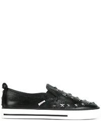 Zapatillas slip-on de cuero con tachuelas negras de RED Valentino