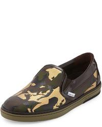 Zapatillas slip-on de cuero de camuflaje marrónes de Jimmy Choo