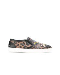 Zapatillas slip-on de cuero de leopardo marrónes de Dolce & Gabbana