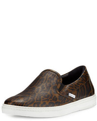Zapatillas slip-on de cuero de leopardo marrónes de Jimmy Choo