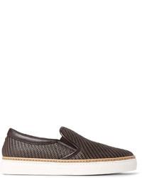 Zapatillas slip-on de cuero en marrón oscuro de Ermenegildo Zegna