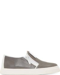Zapatillas slip-on de cuero grises