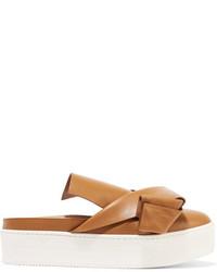 Zapatillas slip-on de cuero marrón claro de No.21