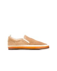 Zapatillas slip-on de cuero marrón claro de Officine Creative