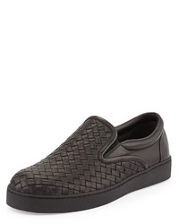 Zapatillas slip-on de cuero negras de Bottega Veneta
