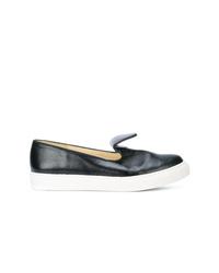 Zapatillas slip-on de cuero negras de Sarah Flint