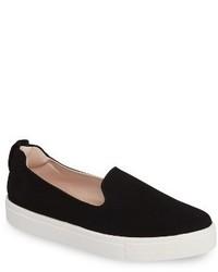 Zapatillas slip-on de cuero negras de Topshop