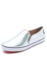 Zapatillas slip-on de cuero plateadas de Kate Spade
