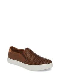 Zapatillas slip-on de cuero tejidas marrónes
