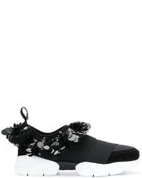 Zapatillas slip-on de lentejuelas con adornos negras de Emilio Pucci