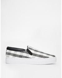 Zapatillas slip-on de tartán en negro y blanco