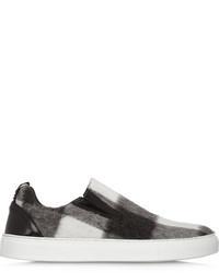 Zapatillas slip-on de tartán en negro y blanco de MSGM