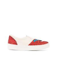 Zapatillas slip-on en blanco y rojo de Chiara Ferragni