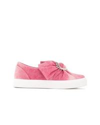 Zapatillas slip-on vaqueras con adornos rosadas de Chiara Ferragni