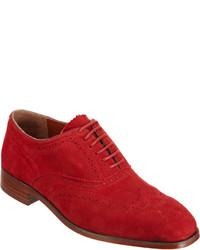 Zapatos brogue de ante rojos