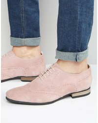 Zapatos brogue de ante rosados
