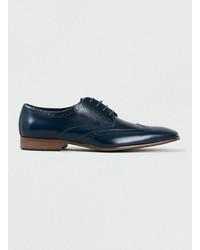 Zapatos brogue de cuero azul marino