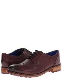 Zapatos brogue de cuero burdeos