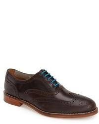 Zapatos brogue de cuero en marrón oscuro de J Shoes