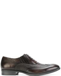 Zapatos brogue de cuero en marrón oscuro de Pollini