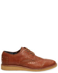 Zapatos brogue de cuero en tabaco