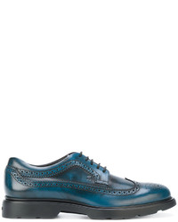 Zapatos brogue de cuero en verde azulado