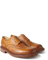 Zapatos brogue de cuero marrón claro