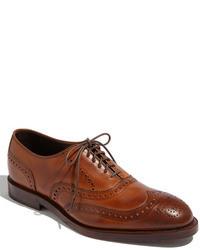 Zapatos brogue de cuero marrónes
