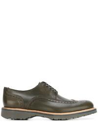 Zapatos brogue de cuero verde oliva